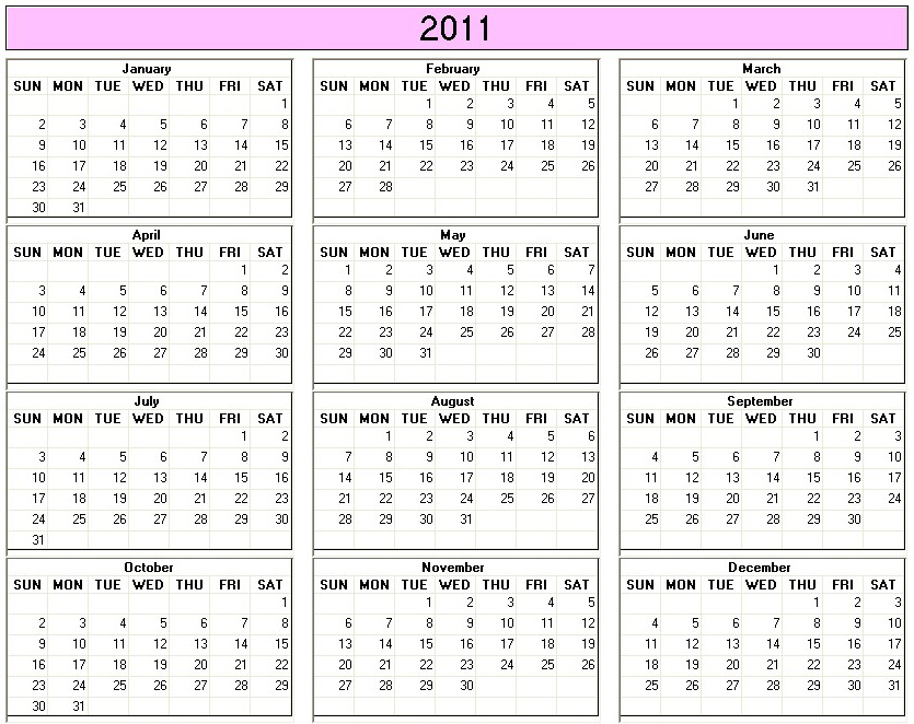 Yearly 2011 Printable Calendar Large color week starts on Sunday ...