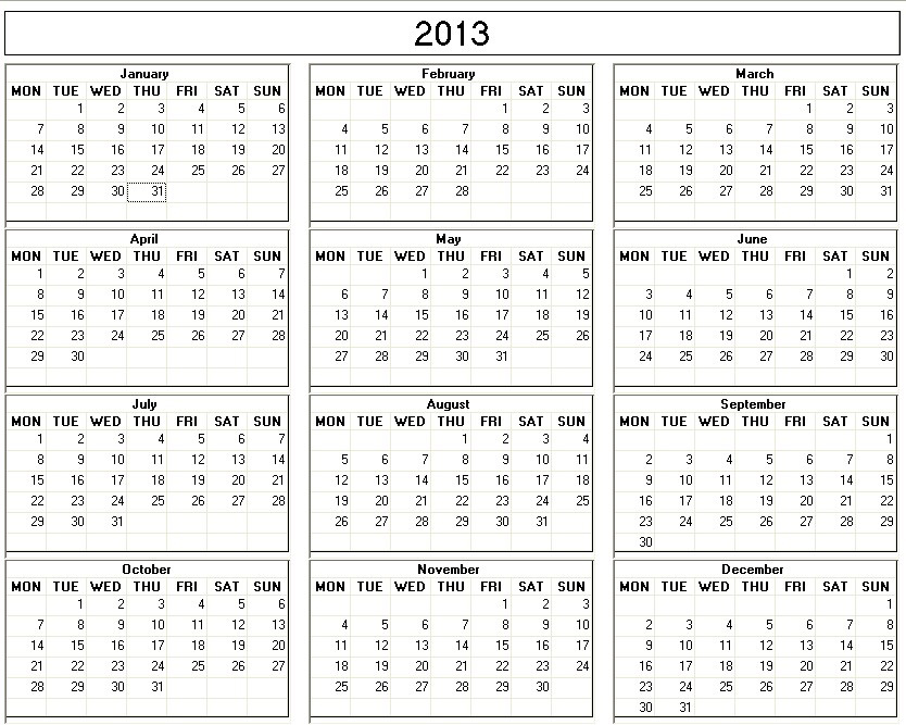 Yearly 2013 Printable Calendar Large black & white week starts on ...