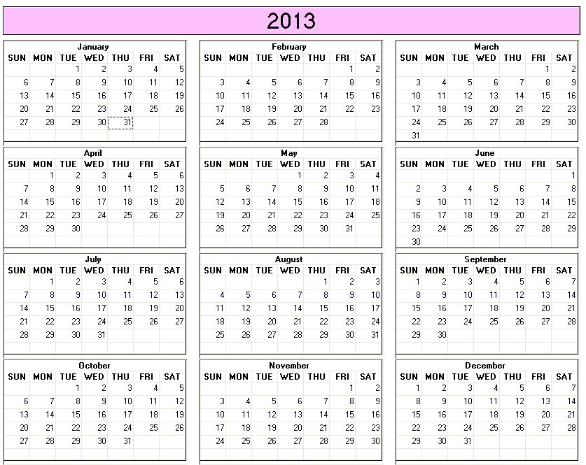 Yearly 2013 Printable Calendar Large color week starts on Sunday ...