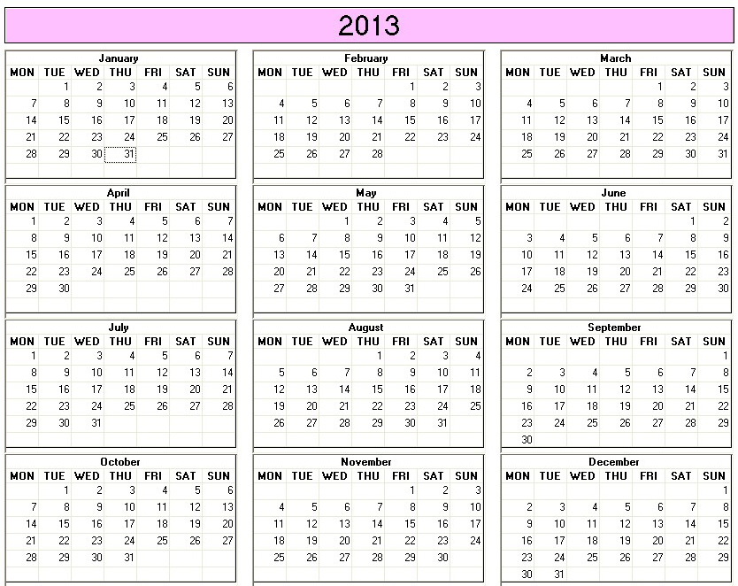 2013 Yearly Printable Calendar Templates