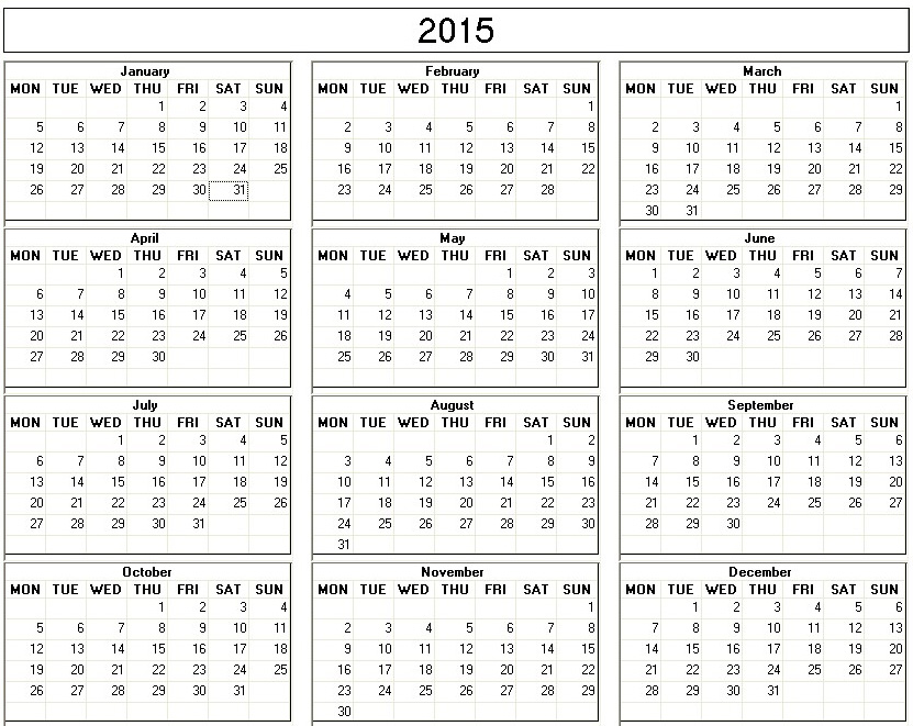 Printable 2015 One Page Calendar/page/2 | Search Results | Calendar ...