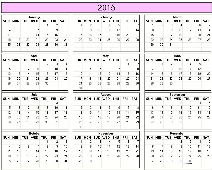 Marvelous Yearly 2015 Printable Calendar Color Week Starts On Sunday |  Calendarprintables.net Great Ideas