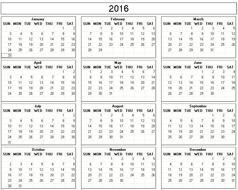 Yearly  Printable Calendar Back And White Week Starts On