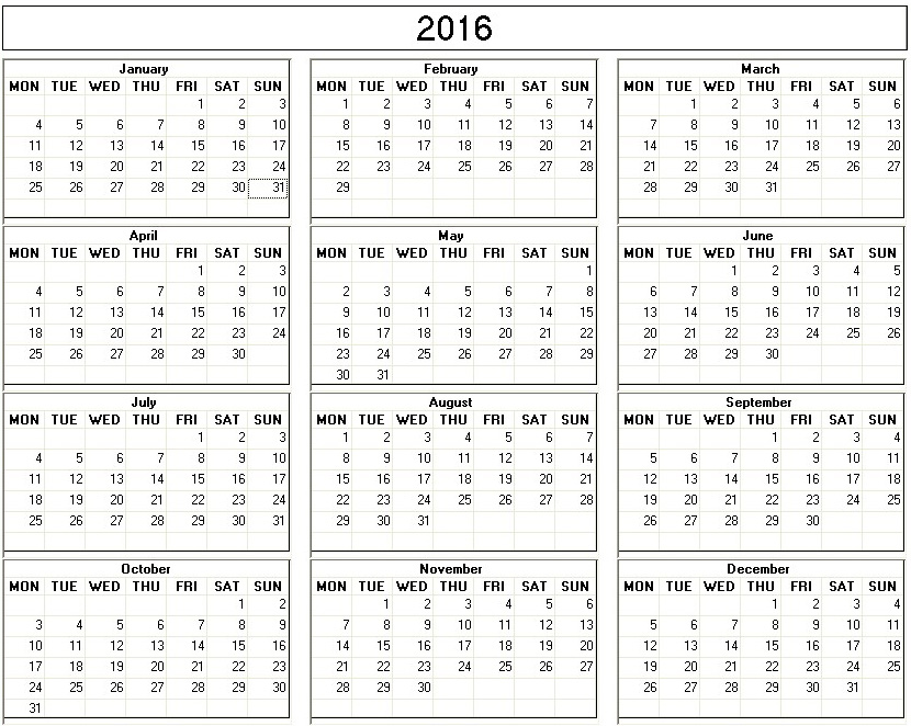 Yearly 2015 Printable Calendar back and white week starts on monday ...