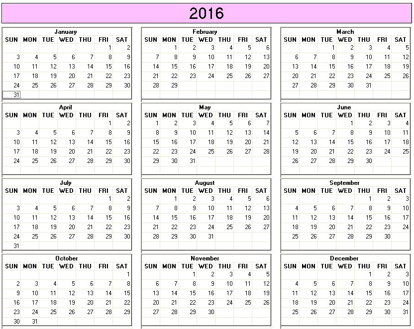 Yearly 2015 Printable Calendar color week starts on Sunday ...