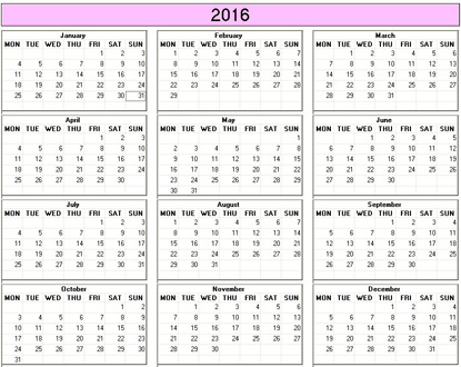 2016 Yearly Printable Calendars - Easy Click & Print