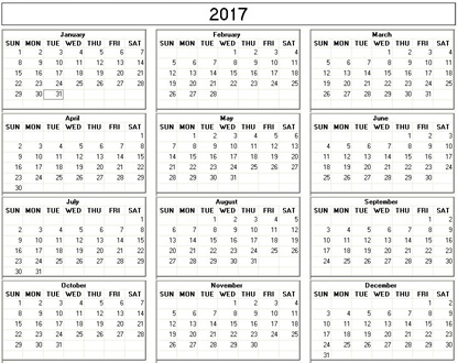 Yearly 2017 Printable Calendar - Black White Weekday Starts Sunday