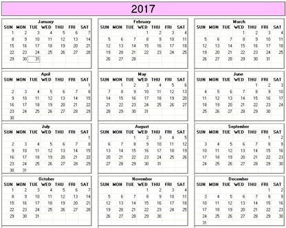 Yearly  Printable Calendar  Color  Weekday Starts Sunday