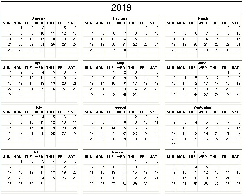 Yearly  Printable Calendar Back And White Week Starts On Sunday