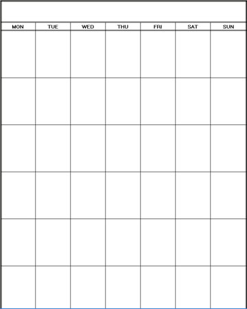 Blank Calendar Monthly Template 1