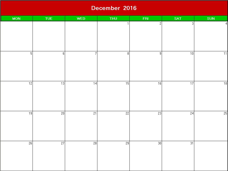 christmas 2016 printable blank calendar - Calendarprintables.net