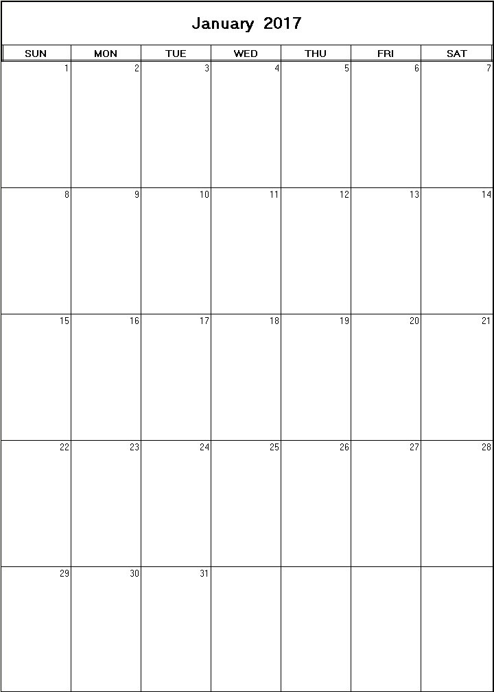 January 2017 Printable Blank Calendar - Calendarprintables.Net