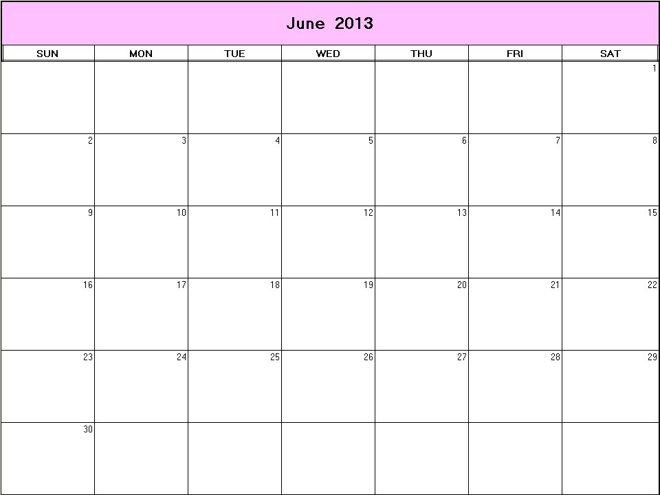 Calendar June 2013 : June printable blank calendar calendarprintables