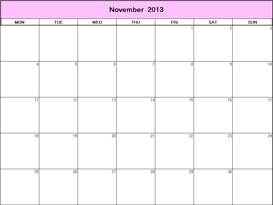 November 2013 printable blank calendar - Calendarprintables.net