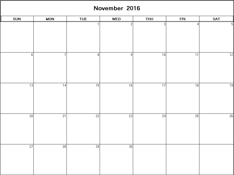 November 2016 printable blank calendar - Calendarprintables.net