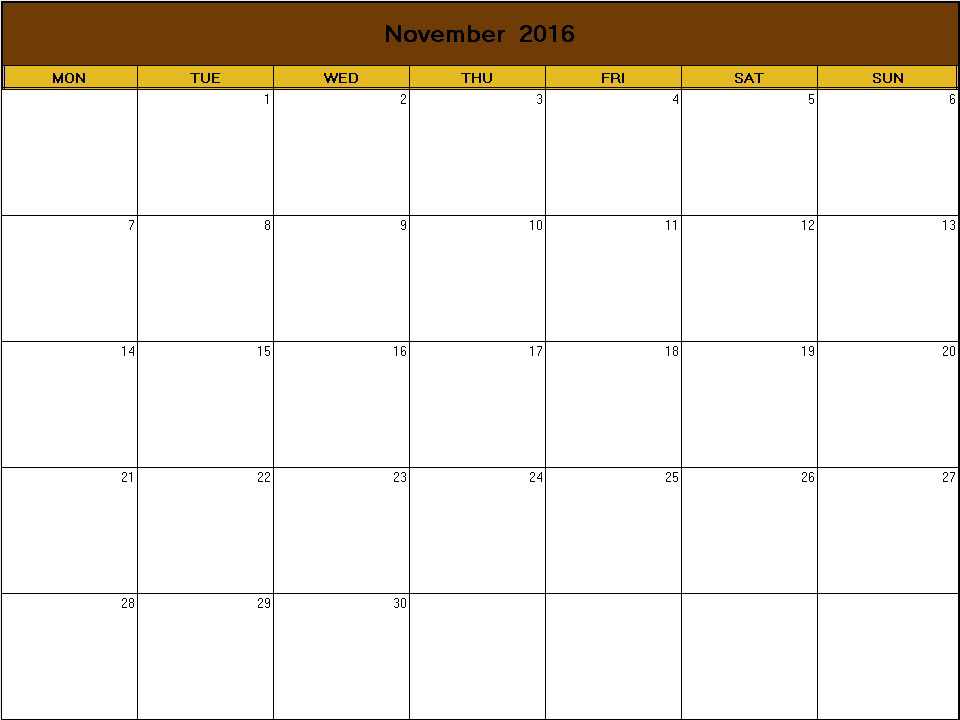 Thanksgiving 2016 printable blank calendar - Calendarprintables.net