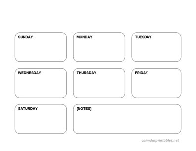 Boxed Printable Weekly Planner And Calendar With Notes -Weekday Sunday