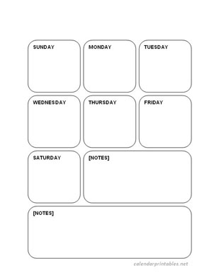 Boxed Printable Weekly Planner And Calendar -Sunday 8.5 X 11