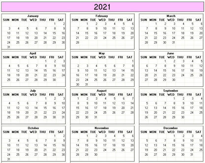 Yearly 2021 Printable Calendar - color & weekday starts ...